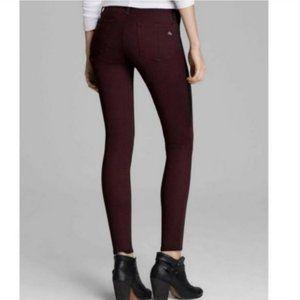 Rag & Bone Lamb Leather Panel Stripe Skinny Jeans Burgundy Size 24